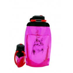 Складная эко бутылка, розовая, объём 500 мл - артикул B050PIS-1303 с рисунком