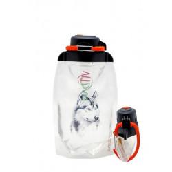 Складная эко бутылка, прозрачная, объём 500 мл - артикул B050TRS-1303 с рисунком