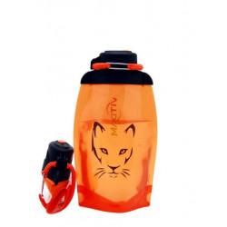 Складная эко бутылка, оранжевая, объём 500 мл - артикул B050ORS-1306 с рисунком