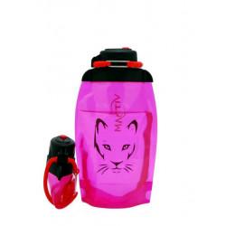 Складная эко бутылка, розовая, объём 500 мл - артикул B050PIS-1306 с рисунком