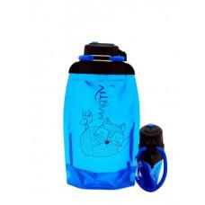 Складная эко бутылка, синяя, объём 500 мл - артикул B050BLS-1304 с рисунком
