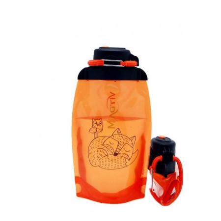 Складная эко бутылка, оранжевая, объём 500 мл - артикул B050ORS-1304 с рисунком