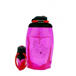 Складная эко бутылка, розовая, объём 500 мл - артикул B050PIS-1304 с рисунком