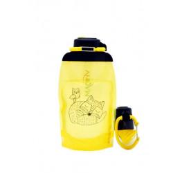 Складная эко бутылка, желтая, объём 500 мл - артикул B050YES-1304 с рисунком