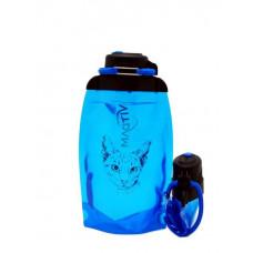 Складная эко бутылка, синяя, объём 500 мл - артикул B050BLS-1302 с рисунком