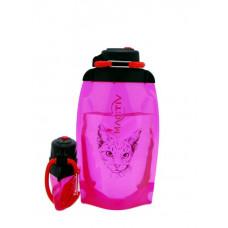 Складная эко бутылка, розовая, объём 500 мл - артикул B050PIS-1302 с рисунком