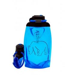 Складная эко бутылка, синяя, объём 500 мл - артикул B050BLS-1301 с рисунком