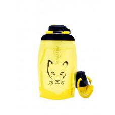 Складная эко бутылка, желтая, объём 500 мл - артикул B050YES-1306 с рисунком