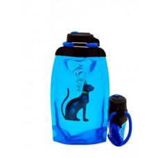 Складная эко бутылка, синяя, объём 500 мл - артикул B050BLS-610 с рисунком