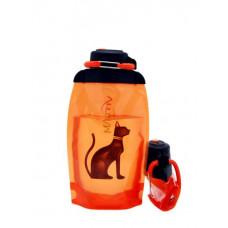 Складная эко бутылка, оранжевая, объём 500 мл - артикул B050ORS-610 с рисунком