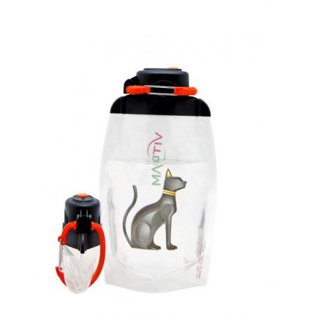 Складная эко бутылка, прозрачная, объём 500 мл - артикул B050TRS-610 с рисунком