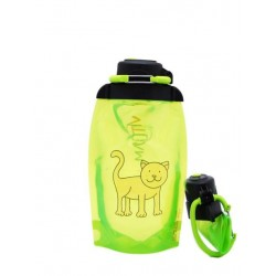 Складная эко бутылка, желто-зеленая, объём 500 мл - артикул B050YGS-609 с рисунком