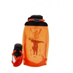 Складная эко бутылка, оранжевая, объём 500 мл - артикул B050ORS-301 с рисунком