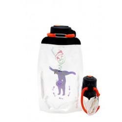 Складная эко бутылка, прозрачная, объём 500 мл - артикул B050TRS-301 с рисунком