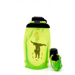 Складная эко бутылка, желто-зеленая, объём 500 мл - артикул B050YGS-301 с рисунком