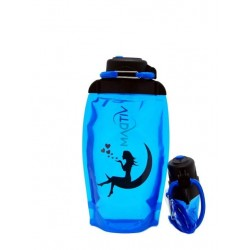 Складная эко бутылка, синяя, объём 500 мл - артикул B050BLS-146 с рисунком