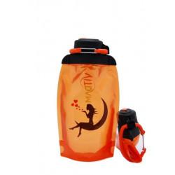 Складная эко бутылка, оранжевая, объём 500 мл - артикул B050ORS-146 с рисунком