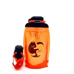 Складная эко бутылка, оранжевая, объём 500 мл - артикул B050ORS-208 с рисунком