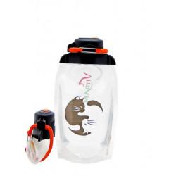 Складная эко бутылка, прозрачная, объём 500 мл - артикул B050TRS-208 с рисунком