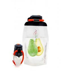 Складная эко бутылка, прозрачная, объём 500 мл - артикул B050TRS-303 с рисунком