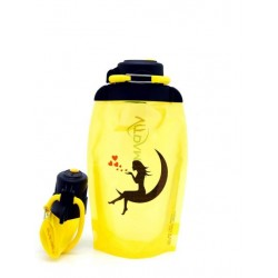 Складная эко бутылка, желтая, объём 500 мл - артикул B050YES-146 с рисунком