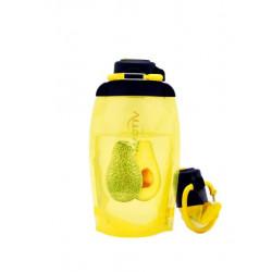 Складная эко бутылка, желтая, объём 500 мл - артикул B050YES-303 с рисунком