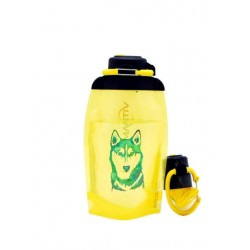 Складная эко бутылка, желтая, объём 500 мл - артикул B050YES-612 с рисунком