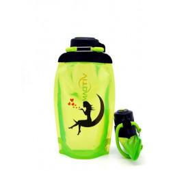 Складная эко бутылка, желто-зеленая, объём 500 мл - артикул B050YGS-146 с рисунком