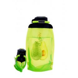 Складная эко бутылка, желто-зеленая, объём 500 мл - артикул B050YGS-303 с рисунком