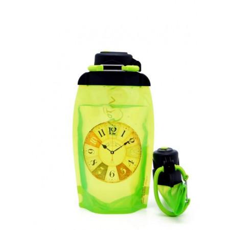 Складная эко бутылка, желто-зеленая, объём 500 мл - артикул B050YGS-601 с рисунком