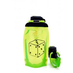 Складная эко бутылка, желто-зеленая, объём 500 мл - артикул B050YGS-602 с рисунком