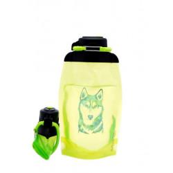 Складная эко бутылка, желто-зеленая, объём 500 мл - артикул B050YGS-612 с рисунком