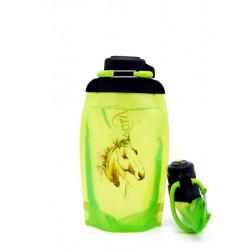 Складная эко бутылка, желто-зеленая, объём 500 мл - артикул B050YGS-613 с рисунком