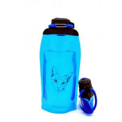 Складная эко бутылка, синяя, объём 860 мл - артикул B086BLS-1302 с рисунком
