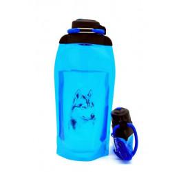 Складная эко бутылка, синяя, объём 860 мл - артикул B086BLS-1303 с рисунком