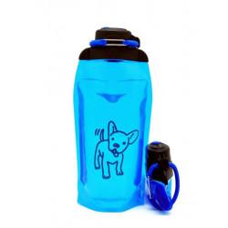 Складная эко бутылка, синяя, объём 860 мл - артикул B086BLS-1408 с рисунком