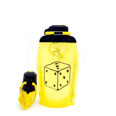 Складная эко бутылка, желтая, объём 500 мл - артикул B050YES-602 с рисунком