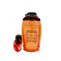 Складная эко бутылка, оранжевая, объём 500 мл - артикул B050ORS-1402 с рисунком