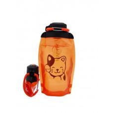 Складная эко бутылка, оранжевая, объём 500 мл - артикул B050ORS-1406 с рисунком