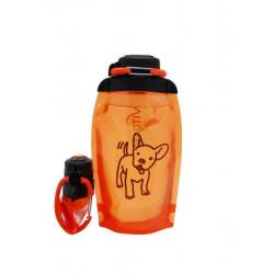Складная эко бутылка, оранжевая, объём 500 мл - артикул B050ORS-1408 с рисунком
