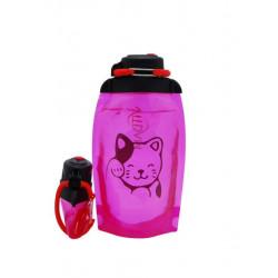 Складная эко бутылка, розовая, объём 500 мл - артикул B050PIS-1406 с рисунком