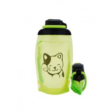 Складная эко бутылка, желто-зеленая, объём 500 мл - артикул B050YGS-1406 с рисунком