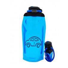 Складная эко бутылка, синяя, объём 860 мл - артикул B086BLS-1403 с рисунком
