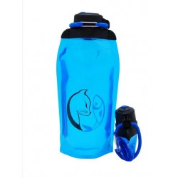 Складная эко бутылка, синяя, объём 860 мл - артикул B086BLS-1407 с рисунком