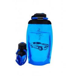Складная эко бутылка, синяя, объём 500 мл - артикул B050BLS-1401 с рисунком