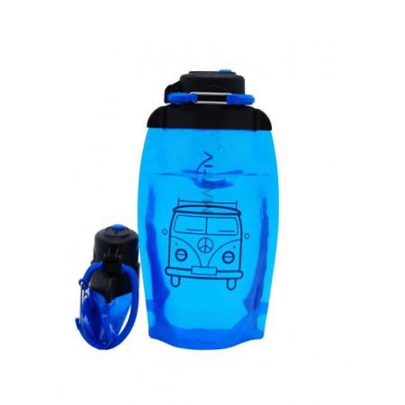 Складная эко бутылка, синяя, объём 500 мл - артикул B050BLS-1402 с рисунком