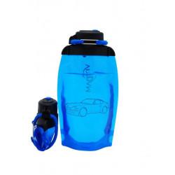 Складная эко бутылка, синяя, объём 500 мл - артикул B050BLS-1404 с рисунком