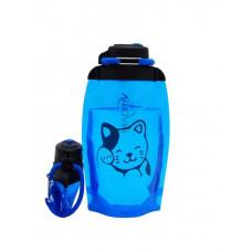 Складная эко бутылка, синяя, объём 500 мл - артикул B050BLS-1406 с рисунком