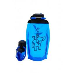 Складная эко бутылка, синяя, объём 500 мл - артикул B050BLS-1408 с рисунком