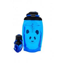 Складная эко бутылка, синяя, объём 500 мл - артикул B050BLS-1412 с рисунком